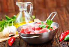 Raw meat. In pan and on a table Royalty Free Stock Photography