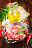 Raw meat. In pan and on a table Royalty Free Stock Image