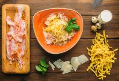 Raw meat, pasta, cheese, berb and eggs, top view Royalty Free Stock Photography