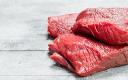 Raw meat. Pieces of beef royalty free stock images