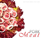 Raw meat pieces with sliced onion and black pepper. Isolated on white Stock Photography