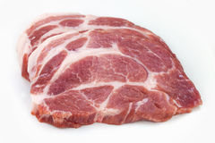 Raw meat, pork, slices pork. On a white background Stock Images