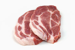 Raw meat, pork, slices pork. On a white background Royalty Free Stock Image
