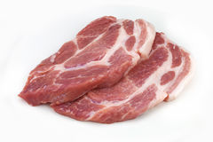 Raw meat, pork, slices pork. On a white background Royalty Free Stock Images