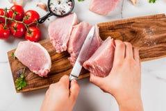 Raw meat, pork tenderloin Stock Photo