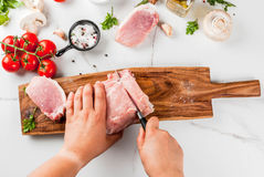 Raw meat, pork tenderloin Royalty Free Stock Photography
