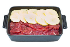 Raw meat and potatoes Stock Photo