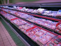 Raw meat, poultry, turkey department. ROME, ITALY. May 11, 2018: Raw meat, poultry, turkey department, inside `Panorama` shopping center in the historic center Royalty Free Stock Photo