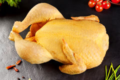 Raw meat. Poultry Whole chicken, chicken vegetable ready to cook on the BQQ or grill Royalty Free Stock Images
