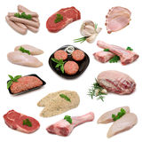 Raw Meat Product Sampler. Variety of raw meat products isolated on white Stock Photos