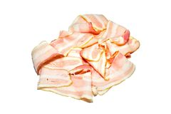 Raw meat, Raw bacon isolated on white background. Brisket, bacon strips, cooking food, Prosciutto,Top view, Slices, uncooked Stock Photos