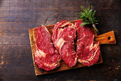 Raw meat Ribeye steak entrecote Stock Photos