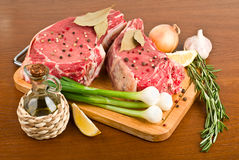 Raw meat with rosemary Stock Photography