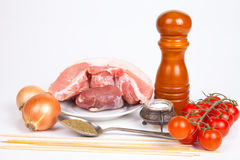Raw meat, salt, pepper, tomatos, onion, spoon with herbs, sticks. For barbecue. Still life on light background Stock Photo