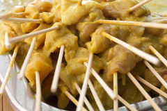 Raw meat satay prepare for grill Royalty Free Stock Image
