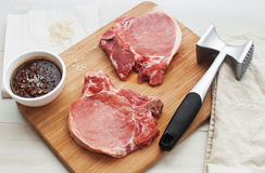 Raw meat with sauce for marinade Royalty Free Stock Image