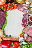 Raw meat, sausage, vegetables. And spices on wooden table with place for your text Royalty Free Stock Photography