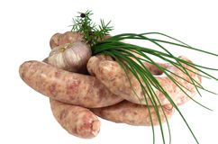 Raw meat sausages Royalty Free Stock Image
