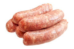 Raw meat sausages Royalty Free Stock Images