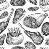 Raw meat seamless pattern. Vector drawing. Hand drawn beef steak. Pork ham, lamb rib, minced chicken forcemeat. Raw food ingredient. Vintage sketch. Butcher royalty free illustration