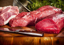 Raw meat selection Stock Photos