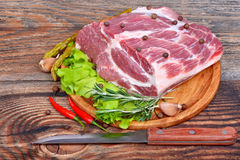 Raw meat selection with herbs Royalty Free Stock Image