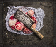 Raw Meat set for broth in paper and vintage cleaver Stock Image