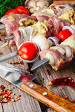 Raw meat on skewer. Raw meat with vegetables threaded onto a skewer for roasting on the coals Stock Image