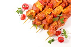 Raw meat, skewer. On white Royalty Free Stock Images