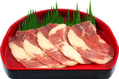 Raw Meat Slice. The Isolation raw food ingredient in the decorated container stock photo