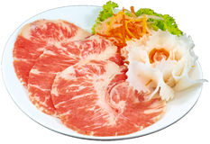 Raw Meat Slice. The Isolation raw food ingredient in the decorated container stock images