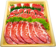 Raw Meat Slice. The Isolation raw food ingredient in the decorated container stock photography