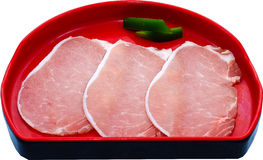 Raw Meat Slice. The Isolation raw food ingredient in the decorated container Royalty Free Stock Photos