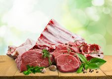 Raw Meat slices on background. Meat raw slices group background market shop Royalty Free Stock Images