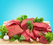 Raw Meat slices on background. Meat raw slices group background market shop Stock Image