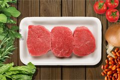 Raw Meat slices on background. Meat raw slices group background market shop Royalty Free Stock Photography