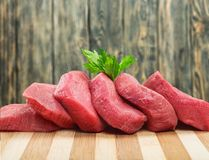 Raw Meat slices, close-up view. Meat raw slices group background market shop Stock Photo