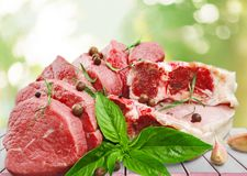 Raw Meat slices, close-up view. Meat raw slices group background market shop Royalty Free Stock Image