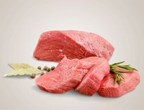 Raw Meat slices on wooden background. Meat raw slices group background market shop Royalty Free Stock Photos