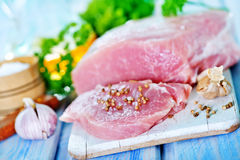 Raw meat. With spice on board and on a table Royalty Free Stock Images