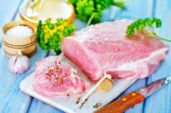 Raw meat. With spice on board and on a table Royalty Free Stock Photo