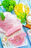 Raw meat. With spice on board and on a table Stock Image