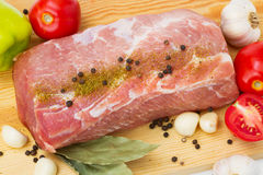 Raw meat with spice, tomatoes Royalty Free Stock Image