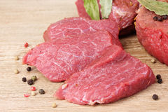 Raw meat and spices Stock Photos