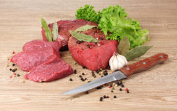 Raw meat and spices Royalty Free Stock Image