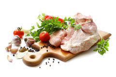 Raw meat and spices Royalty Free Stock Photo