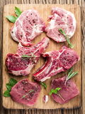 Raw meat with spices. Royalty Free Stock Photos