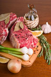Raw meat with spices Royalty Free Stock Images