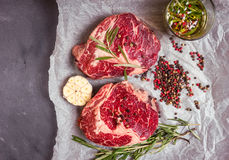 Raw meat steak on a baking paper ready to roasting Stock Image