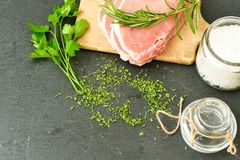 Raw meat steak cutlet and ingredients for cooking. Raw meat steak cutlet   with fresh  basil and ingredients for cooking.  chili peppers ,parsley, rosmary   and Stock Photography